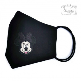 BLACK COTTON PROTECTIVE MASK WITH A PATCH OF MIKI MOUSE HEAD